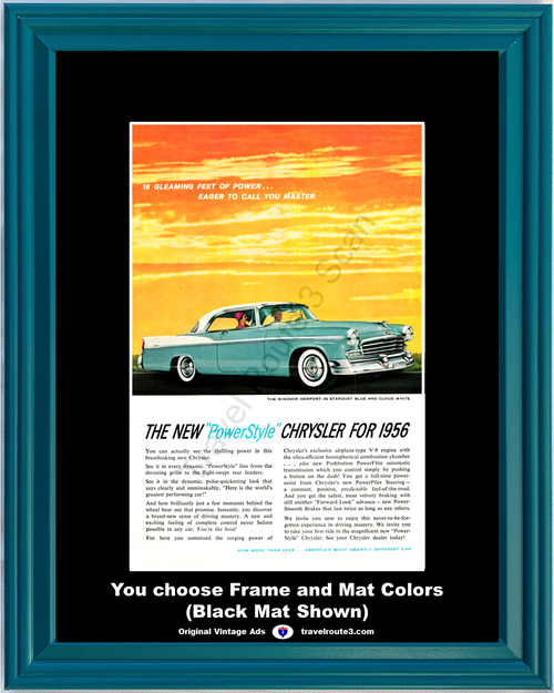 1956 Chrysler Windsor Newport Vintage Ad 56 PowerStyle Stardust Blue Cloud White 2 Door Hardtop Sunset Master **You Choose Frame-Mat Colors-Free USA Priority Shipping**