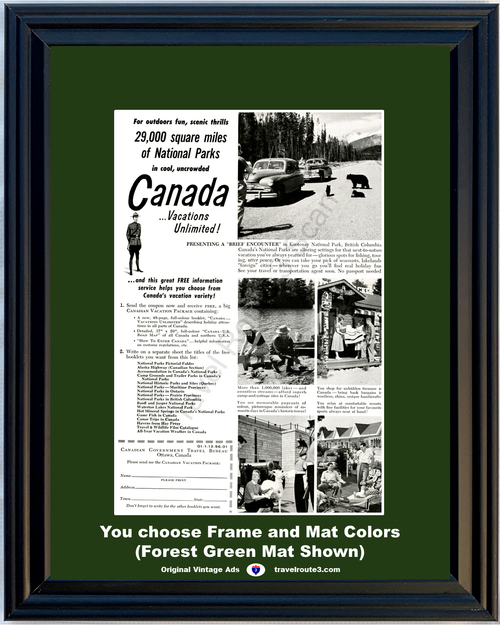 1956 Canada Travel Bears Kootenay Vintage Ad Vacation National Park Lakes Shopping Fun Scenic 56 **You Choose Frame-Mat Colors-Free USA Priority Shipping**