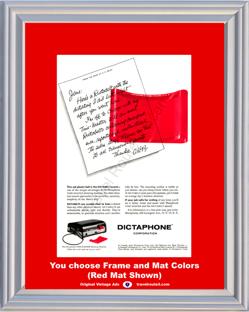 1956 Dictaphone Dictabelt Record Vintage Ad Red Plastic Belt Office Dictation Dictating Recording 56 **You Choose Frame-Mat Colors-Free USA Priority Shipping**