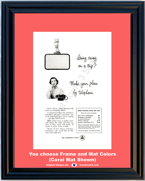 1956 Bell Telephone Suitcase Travel Vintage Ad Vacation Travel Long Distance Phone Call Calling AT&T ATT 56 **You Choose Frame-Mat Colors-Free USA Priority Shipping**