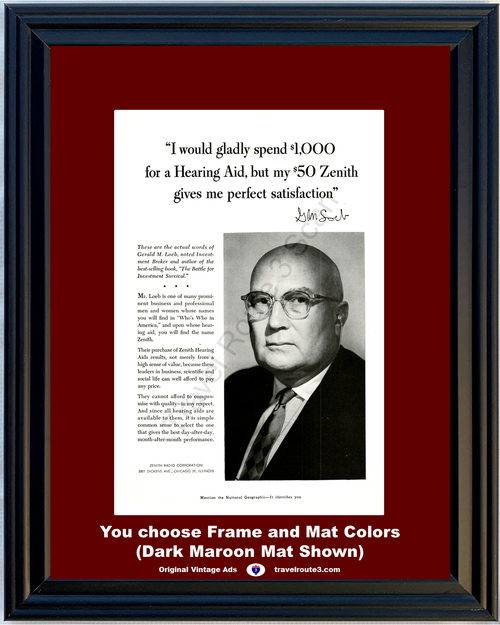 1956 Zenith Hearing Aid Vintage Ad Gerald Loeb Investment Broker Hear Sound Radio 56 **You Choose Frame-Mat Colors-Free USA Priority Shipping**