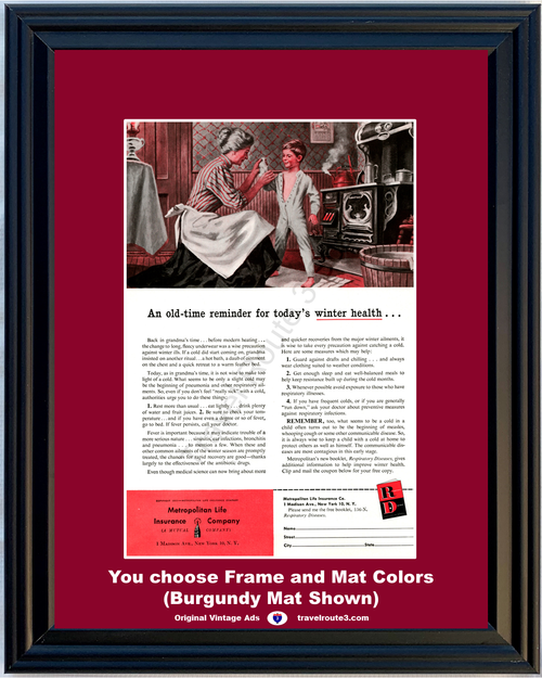 1956 Metropolitan Life Winter Health Vintage Ad and Wellness Cold Antique Stove Grandma Grandson 56 **You Choose Frame-Mat Colors-Free USA Priority Shipping**