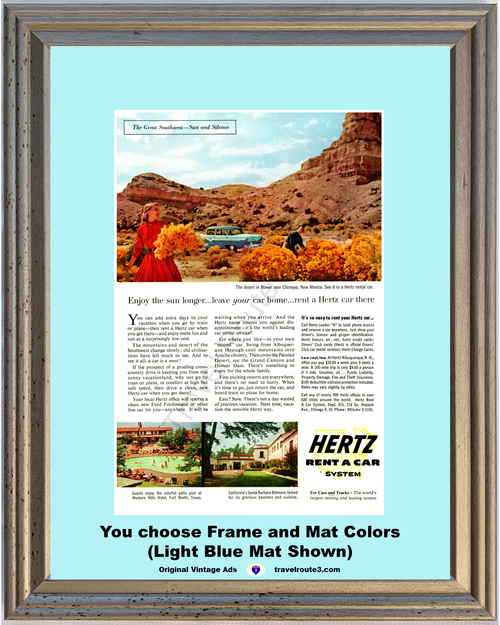 1956 New Mexico Ford Travel Vintage Ad Chimayo Travel Vacation Fort Worth Santa Barbara Hertz Rent a Car 56 *You Choose Frame-Mat Colors-Free USA S&H*
