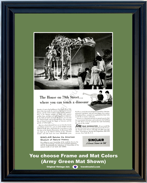 1956 Sinclair Oil Museum of Natural History Vintage Ad Touch a Dinosaur New York American 56 *You Choose Frame-Mat Colors-Free USA S&H*