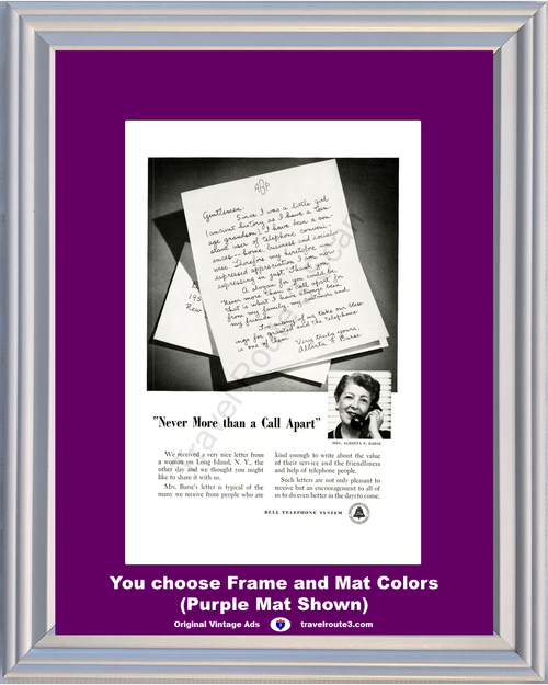 1956 Bell Telephone Customer Letter Vintage Ad New More than a Call Apart AT&T ATT 56 **You Choose Frame-Mat Colors-Free USA Priority Shipping**