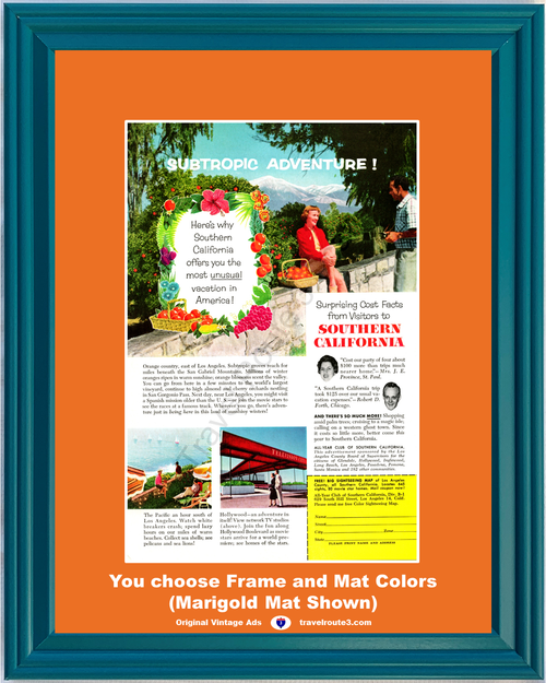 1956 Southern California Vacation Travel Vintage Ad SoCal Adventure Orange Country San Gabriel Mountains 56 **You Choose Frame-Mat Colors-Free USA Priority Shipping**