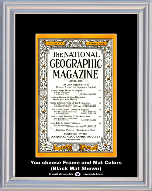 1956 April National Geographic Magazine Cover Volume CIX - Number Four 56 *You Choose Frame-Mat Colors-Free USA S&H*