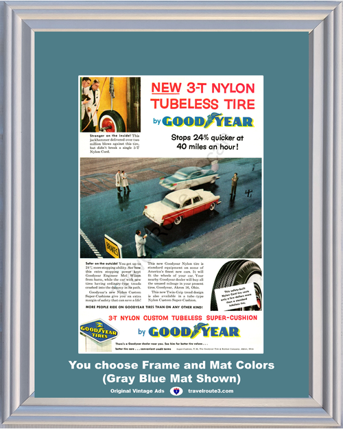 1956 Goodyear Tire Chrysler Vintage Ad Good Year Nylon Cord Tubeless Testing Engineering 56 *You Choose Frame-Mat Colors-Free USA S&H*