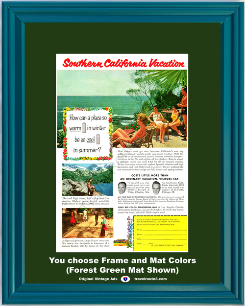 1956 Southern California Vacation Vintage Ad Travel Pacific Coast Swimming Sierra Mountains Hollywood 56 *You Choose Frame-Mat Colors-Free USA S&H*