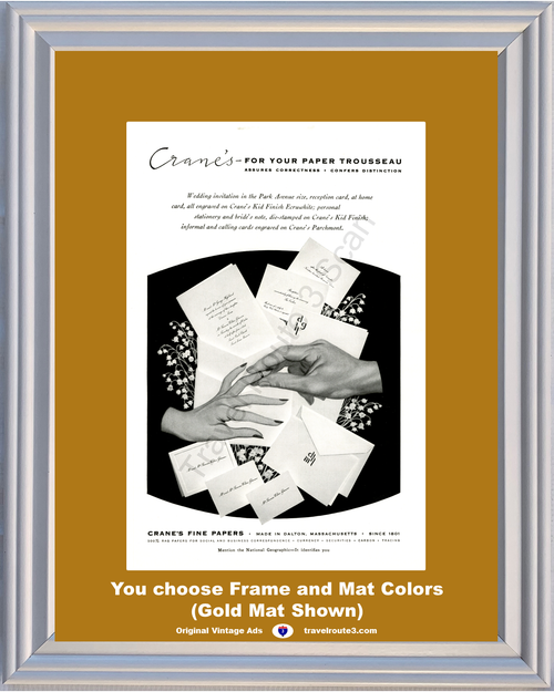 1956 Crane's Wedding Invitation Vintage Ad Calling Reception Card Stationery Paper Envelopes 56 *You Choose Frame-Mat Colors-Free USA S&H*