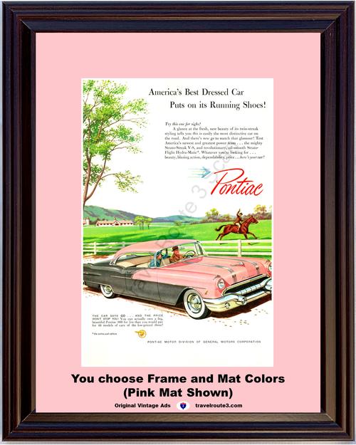 1956 Pontiac Chieftain 860 Vintage Ad 2 Door Hardtop Pink Horse Horseback Farm Running Shoes 56 *You Choose Frame-Mat Colors-Free USA S&H*