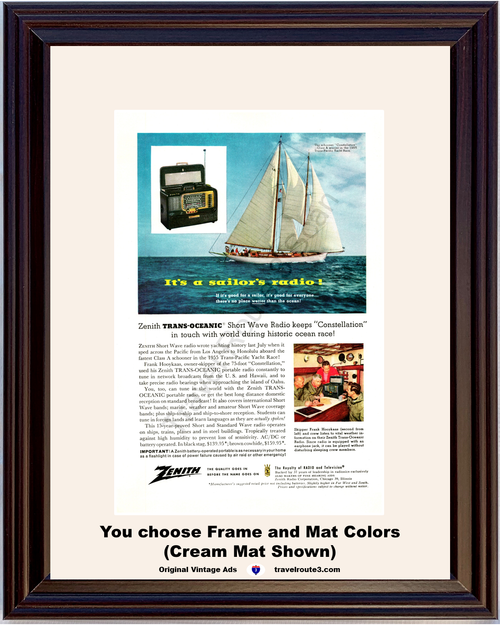 1956 Zenith Short Wave Radio Vintage Ad Constellation Sailboat Sail Boat Sailor Sailing Trans Oceanic 56 *You Choose Frame-Mat Colors-Free USA S&H*