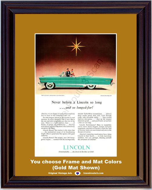 1956 Lincoln Premier Convertible Vintage Ad Luxury Finest Fine Car Fashion Coat by Vera Maxwell 56 *You Choose Frame-Mat Colors-Free USA S&H*