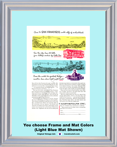 1956 California San Francisco Vacation Vintage Ad Travel Cable Car Chinatown Golden Gate Bridge Skyline 56 *You Choose Frame-Mat Colors-Free USA S&H*