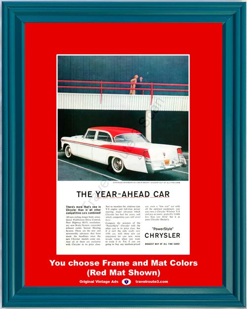 1956 Chrysler Windsor Vintage Ad 4 Door Sedan PowerStyle V-8 V8 Red White Year Ahead Fine Car Luxury 56 *You Choose Frame-Mat Colors-Free USA S&H*