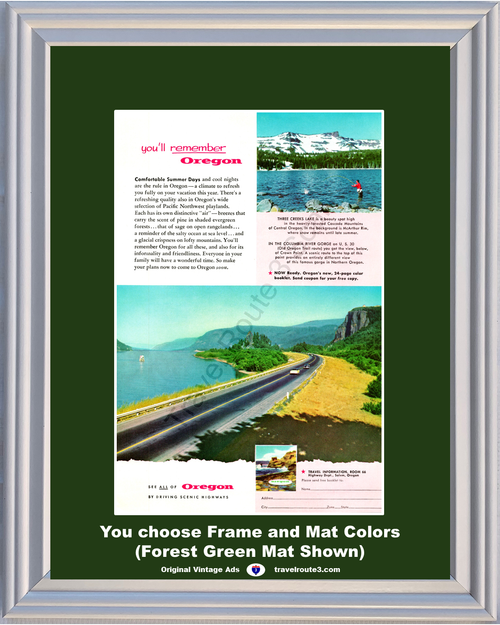 1956 Oregon Vacation Travel Vintage Ad Scenic Highways Three Creeks Lake Cascade Mountains Lake Fishing 56 *You Choose Frame-Mat Colors-Free USA S&H*
