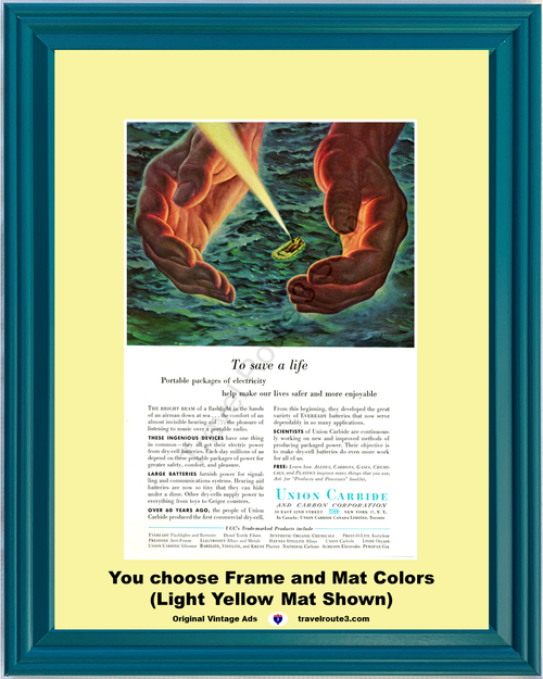 1956 Save a Life Flashlight Airman Vintage Ad Electricity Dry Cell Batteries Rescue Raft Ocean Water 56 *You Choose Frame-Mat Colors-Free USA S&H*