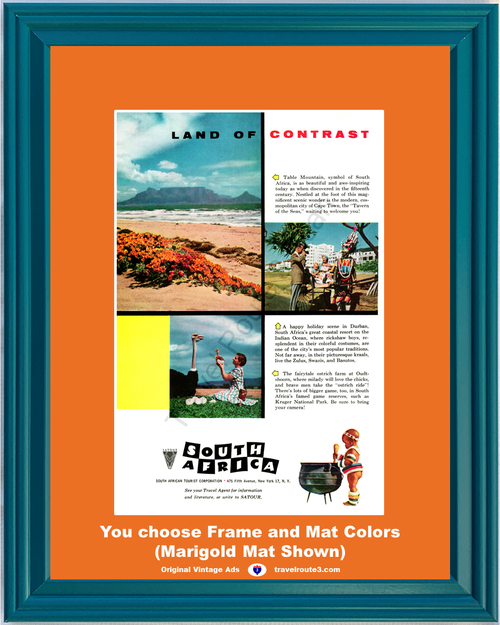 1956 South Africa Travel Vintage Ad Vacation Land of Contrast Cape Town Table Mountain Durban Ostrich 56 *You Choose Frame-Mat Colors-Free USA S&H*