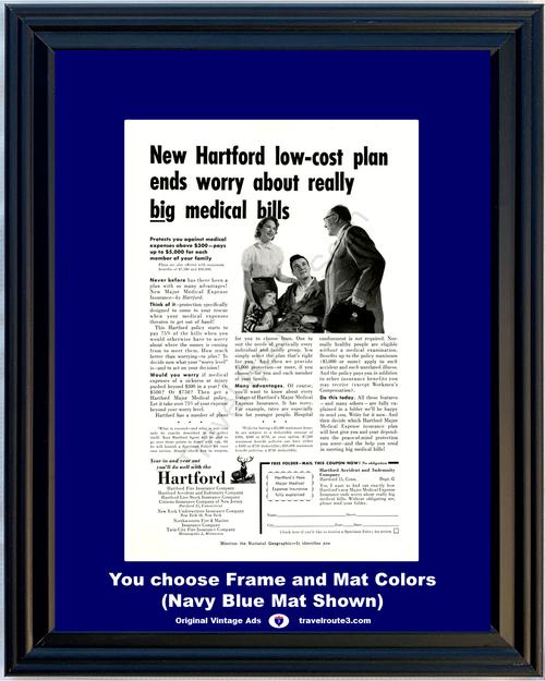 1956 Hartford Medical Expense Insurance Vintage Ad Bills Health and Wellness Sickness Injury Major 56 *You Choose Frame-Mat Colors-Free USA S&H*