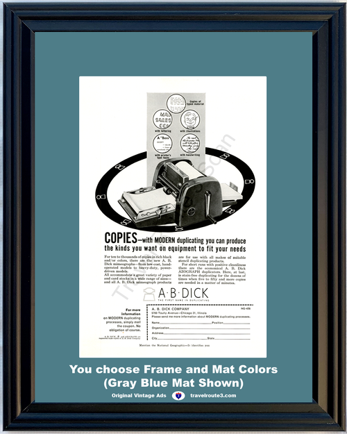 1956 Copy Copying Machine Copier Vintage Ad A B Dick Mimeograph Duplicating Office Equipment 56 *You Choose Frame-Mat Colors-Free USA S&H*