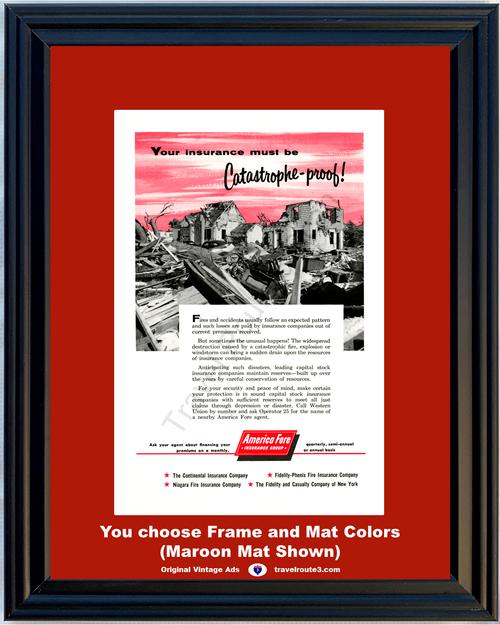 1956 Catastrophe Earthquake Insurance Vintage Ad Fire Explosion Windstorm Destruction Damage 56 *You Choose Frame-Mat Colors-Free USA S&H*