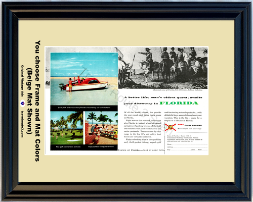 1956 Florida Vacation Travel Boat Vintage Ad Boating Golfing Better Life Good Living 56 *You Choose Frame-Mat Colors-Free USA S&H*