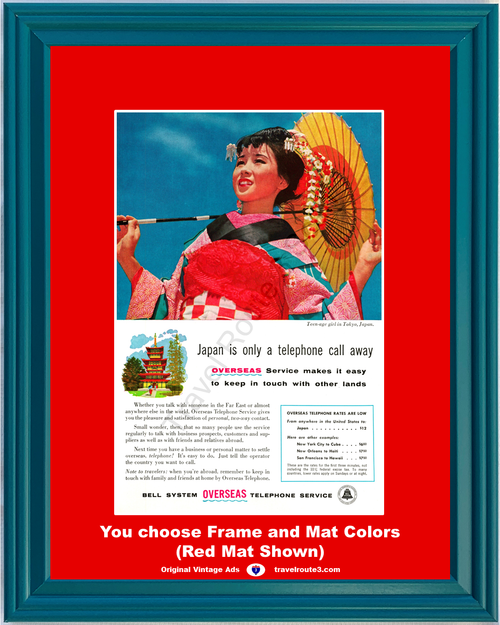 1956 Japan Bell Telephone Vintage Ad Long Distance Call Calling Teenage Girl Tokyo Overseas AT&T ATT 56 *You Choose Frame-Mat Colors-Free USA S&H*