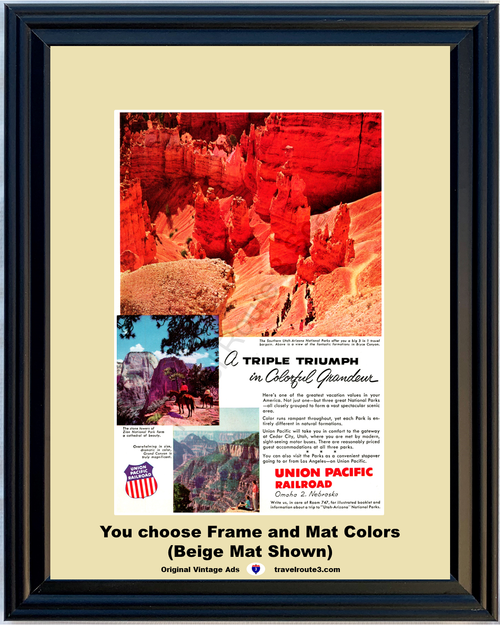 1956 Bryce Canyon Travel Vintage Ad Vacation Union Pacific Railroad Zion National Park Grand Canyon 56 *You Choose Frame-Mat Colors-Free USA S&H*