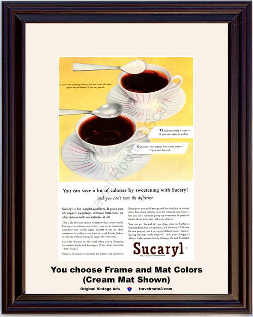 1956 Sucaryl Coffee Sweetener Vintage Ad Non Caloric Health and Wellness Calories Diet Lose Weight 56 *You Choose Frame-Mat Colors-Free USA S&H*