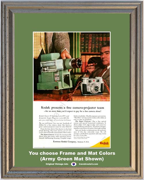 1956 Kodak Camera Slide Projector Vintage Ad Signet 35mm Kodaslide Color Extar Lens Eastman 56 *You Choose Frame-Mat Colors-Free USA S&H*