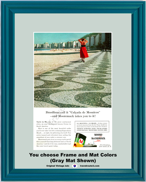 1956 Rio de Janeiro Travel Vacation Vintage Ad Mooremack Cruise Line South American Argentina Brazil 56 *You Choose Frame-Mat Colors-Free USA S&H*