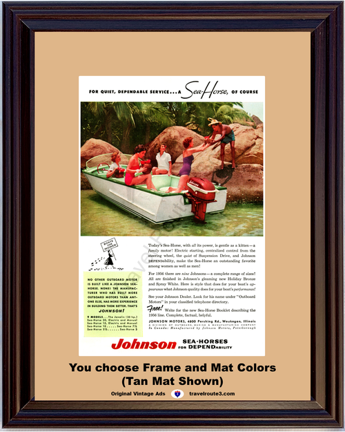 1956 Sea Horse Boat Boating Vintage Ad Johnson Outboard Motors Holiday Bronze Spray White 56 *You Choose Frame-Mat Colors-Free USA S&H*