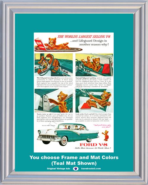 1956 Ford Fordor Victoria Vintage Ad Teddy Bear 56 4 Door Hardtop V-8 V8 Lifeguard Safety Seat Belts *You Choose Frame-Mat Colors-Free USA S&H*