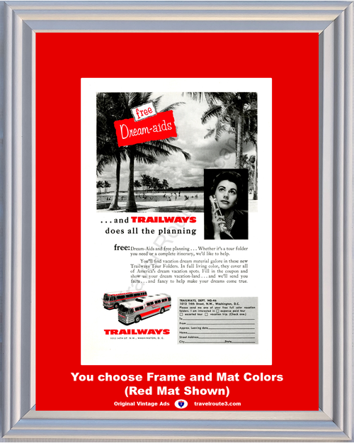 1956 Trailways Bus Travel Vacation Vintage Ad Dream Aids Planning Coach Tour Tourist Beach Palm Trees 56 *You Choose Frame-Mat Colors-Free USA S&H*
