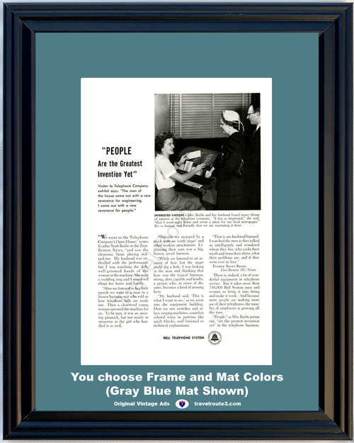 1956 Bell Telephone People Service Vintage Ad Open House Visitors Greatest Invention Yet AT&T ATT 56 *You Choose Frame-Mat Colors-Free USA S&H*