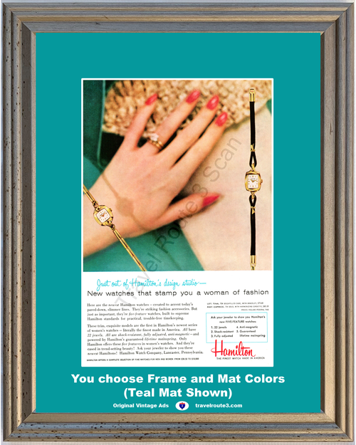 1956 Hamilton Women's Watch Vintage Ad Woman Women Tina Caprice Jewelry Fashion 56 *You Choose Frame-Mat Colors-Free USA S&H*