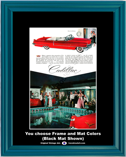 1956 Cadillac Convertible Vintage Ad Palm Springs Racquet Club Gowns by Galonos Luxury Fashion Fine Car 56 *You Choose Frame-Mat Colors-Free USA S&H*