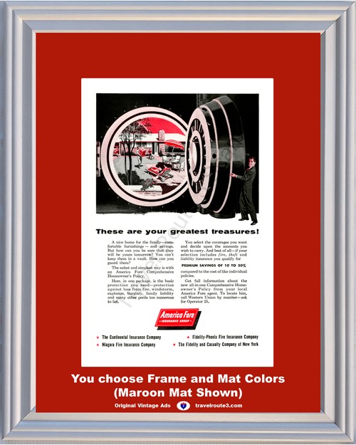 1956 Homeowner's Insurance Vintage Ad Bank Vault America Fore Great Treasures Home House 56 *You Choose Frame-Mat Colors-Free USA S&H*