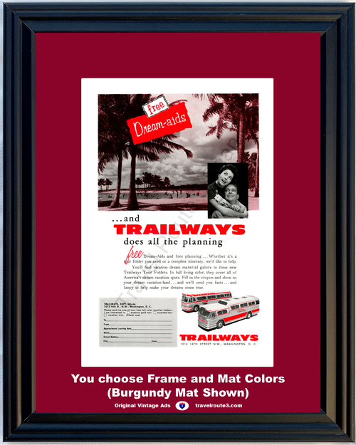 1956 Trailways Bus Travel Vintage Ad Dream Vacation Aids Planning Tour Folders Line 56 *You Choose Frame-Mat Colors-Free USA S&H*