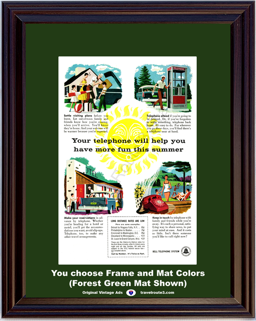1956 Bell Telephone Summer Fun Vintage Ad Phone Booth Travel Vacation Hotel Motel Reservations AT&T ATT 56 *You Choose Frame-Mat Colors-Free USA S&H*