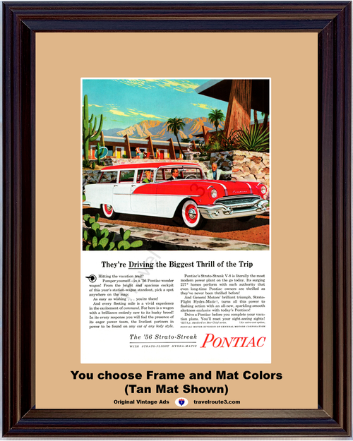 1956 Pontiac 4 Door Station Wagon Vintage Ad Travel Vacation Desert Resort Cactus Palm Trees Red White 56 *You Choose Frame-Mat Colors-Free USA S&H*