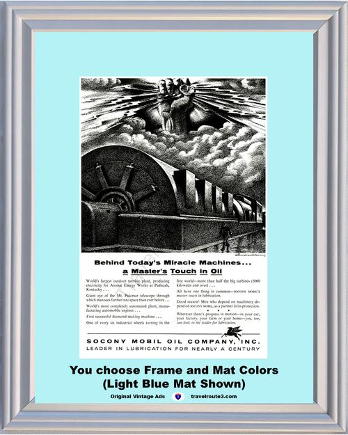 1956 Mobil Oil Atomic Energy Vintage Ad Turbine Electricity Plant Paducah Kentucky Socony Pegasus 56 *You Choose Frame-Mat Colors-Free USA S&H*