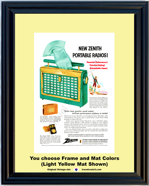 1956 Zenith Portable Radio Vintage Ad Green Presidential Line Carnival Z402 Wavemagnet Hand-Tenna 56 *You Choose Frame-Mat Colors-Free USA S&H*