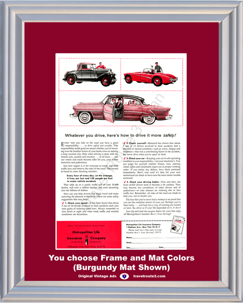 1956 Automotive Driving Safety Vintage Ad Metropolitan Life Antique Classic Automobile Auto Car Drive 56 *You Choose Frame-Mat Colors-Free USA S&H*