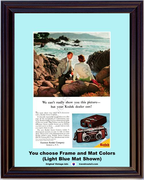 1956 Kodak Stereo Camera Vintage Ad 3 Dimensions Three Dimensional Viewer Ocean Romance Eastman 56 *You Choose Frame-Mat Colors-Free USA S&H*