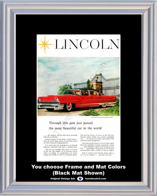 1956 Lincoln Premier Vintage Ad 56 4 Door Sedan Most Beautiful Car in the World Luxury Gate *You Choose Frame-Mat Colors-Free USA S&H*