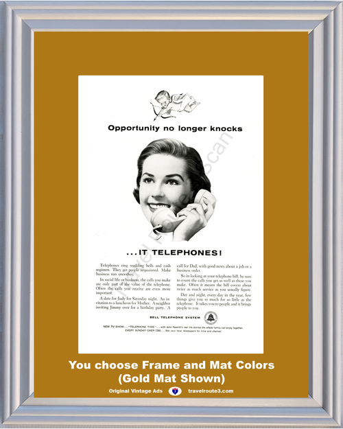 1956 Opportunity Knocks Vintage Ad It Telephones Bell Phone Wedding Bells Cash Registers AT&T ATT CBS 56 *You Choose Frame-Mat Colors-Free USA S&H*