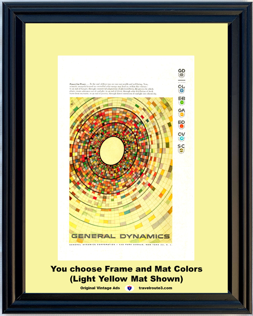 1956 Power Peace Vintage Ad General Dynamics Solar Power Sun Scientific Research Energy Hunger Poverty 56 *You Choose Frame-Mat Colors-Free USA S&H*