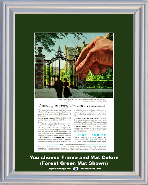 1956 University of Pennsylvania Vintage Ad Union Carbide College Education Technical Scholarships 56 *You Choose Frame-Mat Colors-Free USA S&H*