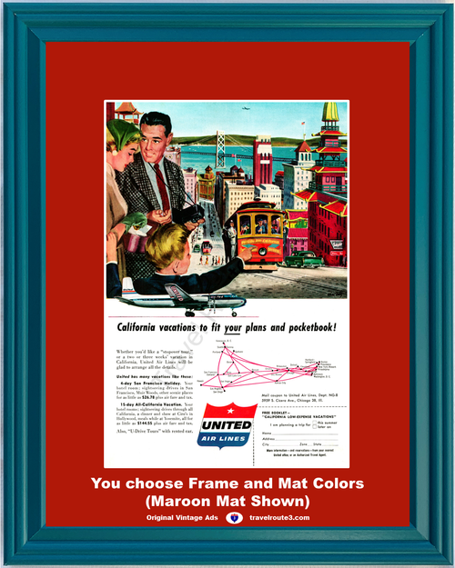 1956 United Air Lines San Francisco Vintage Ad Vacation Travel Golden Gate Bridge Trolley Tourist 56 *You Choose Frame-Mat Colors-Free USA S&H*